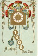 FIORI - FLOWERS - BLUMEN - FLEURS - MIOSOTIS - FUNGHI - MUSHROOMS - ANNO NUOVO 1908 - NEW YEAR 1908 - N 047 - Anno Nuovo