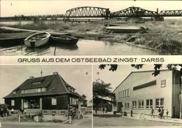 """1984, ZINGST Ostseebad, Darss,, Meiningenbrücke, Kurhaus, FDGB Erholhungsheim """"Nordlicht"""", Gelaufen,Boote - Allemagne"""