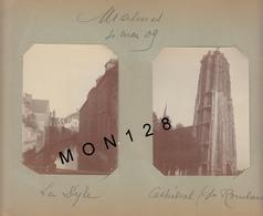 BELGIQUE MALINES 3 PHOTOS NON COLLEES 1909 -LA DYLE CATHEDRALE MUSEE ET HALL AUX DRAPS-DIM 10x8 Cms - Lieux