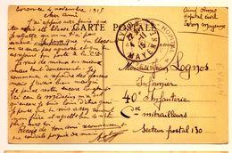 Cachet Hospice Hopital EVRON (Mayenne) 1915 Pas Courant Cp Evron - Marcophilie (Lettres)