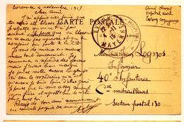 Cachet Hospice Hopital EVRON (Mayenne) 1915 Pas Courant Cp Evron - Poststempel (Briefe)