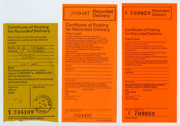 ROYAL MAIL : CERTIFICATES OF POSTING FOR RECORDED DELIVERY : 6 ITEMS - Cinderellas