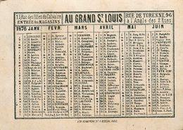 Petit Calendrier Ancien 1876 - Au Grand St Louis - Imprimerie Herbemont - Chromos Chromo - WXC5 - Calendriers