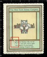 American Poster Stamp, Reklamemarke, Cinderella, The New York Edison Company, Thomas Edison, Book, Buch. - Persönlichkeiten
