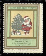 American Poster Stamp, Reklamemarke, Cinderella, The New York Edison Company, Thomas Edison, Santa Claus, Weihnachtsmann - Persönlichkeiten