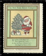 American Poster Stamp, Reklamemarke, Cinderella, The New York Edison Company, Thomas Edison, Santa Claus, Weihnachtsmann - Famous People