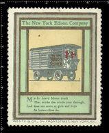 American Poster Stamp, Reklamemarke, Cinderella, The New York Edison Company, Thomas Edison, Wagon, Wagen. - Famous People