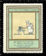 American Poster Stamp, Reklamemarke, Cinderella, The New York Edison Company, Thomas Edison, Chef, Koch. - Famous People