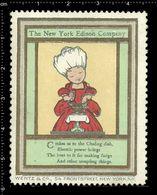 American Poster Stamp, Reklamemarke, Cinderella, The New York Edison Company, Thomas Edison. - Celebrità