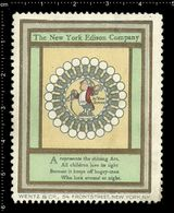 American Poster Stamp, Reklamemarke, Cinderella, The New York Edison Company, Thomas Edison, Burb, Birne. - Celebrità