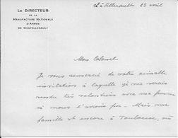 86 CHÂTELLERALT - Invitation - Directeur De La Manufacture D'Armes Au Colonel ONFFROY De VEREZ - Vers 1953 - A Voir ! - Vieux Papiers