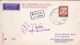 FIRST FLIGHT- LUFTPOST MIT LUFTHANSA, LH 074 NURNBERG-KOLN.-AIRMAIL-GERMANY ALLEMAGNE-TBE-BLEUP - Cartas