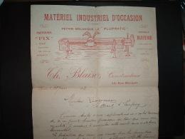CORRESPONDANCE à ENTETE MATERIEL INDUSTRIEL D'OCCASION PETRIN MECANIQUE LE PLUPRATIC Th. BLAISE Constructeur ROUEN (76) - 1900 – 1949