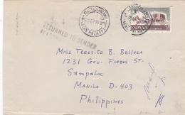 """ESPAGNE : Lettre Pour Les Philippines Avec Griffe  """" Return To Sender """" - 1931-Aujourd'hui: II. République - ....Juan Carlos I"""