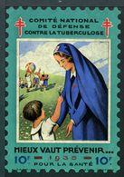 """Tuberculose Antituberculeux - Grand Timbre De 1935  """"10 Fr Pour La Santé"""" - Avec Pochette Neutre . - Erinnofilia"""