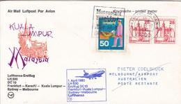 FIRST FLIGHT- LUFTHANSA LH 690 FRANKFURT-KARACHI-KUALA-LUMPUR-SYDNEY-MELBOURNE.-AIRMAIL-GERMANY ALLEMAGNE-TBE-BLEUP - [7] República Federal