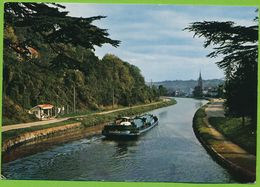 AGEN - Le Canal Du Midi Et L'Eglise Ste Foy Péniche Binnenschiffe Carte Circulé 1970 - Agen