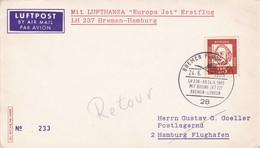 FIRST FLIGHT- LUFTHANSA LH 237 BREMEN HAMBURG.-AIRMAIL-GERMANY ALLEMAGNE-TBE-BLEUP - Cartas