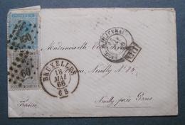 BELGIQUE  Timbre Sur LETTRE ENVELOPPE BRUXELLES Pour Neuilly PARIS 1866 Avec La Correspondance - Belgique