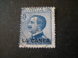 LA CANEA - 1907/12, Sass. N. 17, 25 Cent. Usato Garantito - La Canea