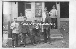 CARTE PHOTO  ALLEMANDE   SAULNES   Angle Rue ROUGELECK Et GRANDE RUE (futur Café De La PLACE) - Autres Communes