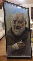 Quadro Di Padre Pio In Vetro Camera Dell'artista Franco Travi Di Bergamo - Other Collections