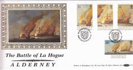 Alderney Battle Of La Hogue On Silk FDC - Alderney