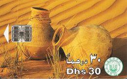 CARTE-PUCE-EMIRATS-30DHS-SC7-POTERIES-DUNES SABLE-TBE - Emirats Arabes Unis