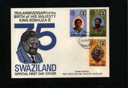 Swaziland 1974 King Sobhuza II FDc - Swaziland (1968-...)