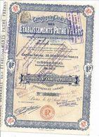 COMPAGNIE GENERALE DES ETABLISSEMENTS PATHE FRERES-PHONOGRAPHE & CINEMATOGRAPHE -ACTION DE 100FRANCS N°188,239 .1922 - Chemin De Fer & Tramway