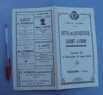 016, Programme Ville De Vendome Loir Et Cher - Fête Du Quartier Saint-Lubin Le 20 Aout 1930, Bon état - Programs