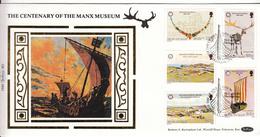 Isle Of Man Manx Museum On Silk FDC - Isla De Man