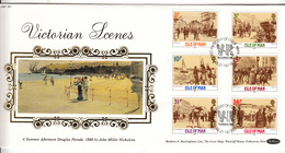 Isle Of Man Victoriana On Silk FDC - Isla De Man