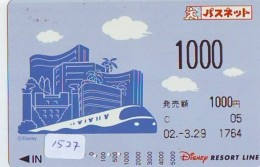 Carte Prépayée Japon  (1527)  DISNEY * RESORT LINE * TRAIN * 1000 *   JAPAN PREPAID CARD - Disney