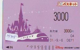 Carte Prépayée Japon  (1535)  DISNEY * RESORT LINE * TRAIN * 3000 *   JAPAN PREPAID CARD - Disney