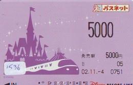 Carte Prépayée Japon  (1536)  DISNEY * RESORT LINE * TRAIN * 5000 *   JAPAN PREPAID CARD - Disney