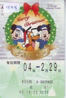 Carte Prépayée Japon  (1548)  DISNEY * RESORT LINE * MICKEY & MINNIE * MERRY CHRISTMAS * 800 *  JAPAN PREPAID CARD - Disney