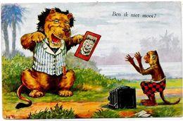 CPA Appareil Photo Animaux En Position Humaine Lion Singe Photo Circulé - Fotografía