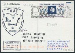 20010/11 T.A.A.F. French Antarctic Antarctica Polar, Martin De Vivies, St Paul AMS Lufthansa Postcard Penguin SIGNED - Covers & Documents