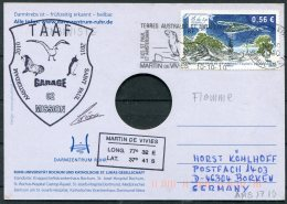 2010/11 T.A.A.F. French Antarctic Antarctica Polar, Martin De Vivies, St Paul AMS Postcard Seals SIGNED - French Southern And Antarctic Territories (TAAF)