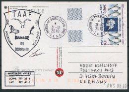 2010 T.A.A.F. French Antarctic Antarctica Polar, Martin De Vivies, St Paul AMS Postcard Penguins SIGNED - Covers & Documents