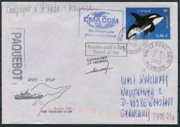 2003 T.A.A.F. French Antarctic Polar Le Port, Reunion, Marion Dufresne Paquebot Cover. Whale - French Southern And Antarctic Territories (TAAF)