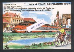 TGV Et Tour De France 1994 - Carte Dessin - Pontarlier