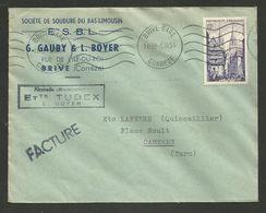 "BRIVE - CORREZE / Enveloppe Commerciale "" Sté Soudure GAUBY & BOYER / Facture 1954 - 1921-1960: Modern Tijdperk"
