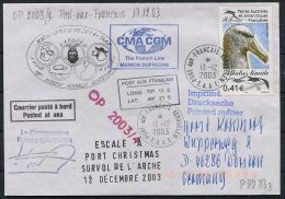 2003 T.A.A.F. French Antarctic Polar, Port Aix Francais Kerguelen Cover. Penguin Seal Walrus, Port Christmas, Helicopter - French Southern And Antarctic Territories (TAAF)