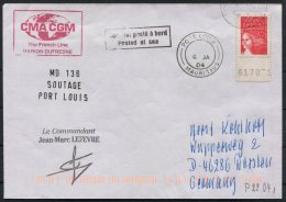 2004 France Mauritius Port Louis, Paquebot Cover. Marion Dufresne - Mauritius (1968-...)