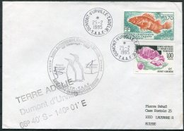 1995 T.A.A.F. French Antarctic Polar Dumont D'Urville Terre Adelie Cover. Penguin - French Southern And Antarctic Territories (TAAF)