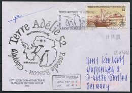 2002 T.A.A.F. French Antarctic Polar Dumont D'Urville Terre Adelie Cover. Penguin Expedition SIGNED - French Southern And Antarctic Territories (TAAF)