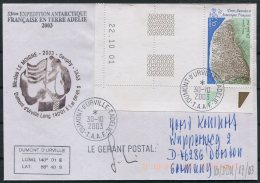 2003 T.A.A.F. French Antarctic Polar Dumont D'Urville Terre Adelie Cover. Expedition SIGNED - French Southern And Antarctic Territories (TAAF)