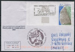 2003 T.A.A.F. French Antarctic Polar Dumont D'Urville Terre Adelie Cover. Expedition Penguin - French Southern And Antarctic Territories (TAAF)